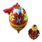 Limoges Imports Red-Blue Egg W/1 Bottle Limoges Box