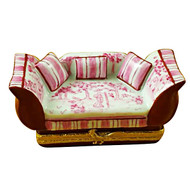 Limoges Imports Pink Toile Sofa W/ Pillows Limoges Box