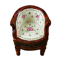 Limoges Imports Brown Flowery Chair Limoges Box