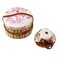 Limoges Imports Pink Toile Hat Box Limoges Box