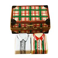 Limoges Imports Suitcase W/2 Shirts Limoges Box