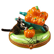 Limoges Imports Pumpkins In Wheelbarrow Limoges Box