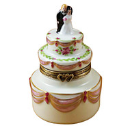 Limoges Imports Bride & Groom Wedding Cake Limoges Box