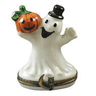 Limoges Imports Happy Ghost With Pumpkin Limoges Box