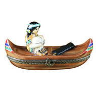 Limoges Imports Indian In Canoe W/Arrow Limoges Box