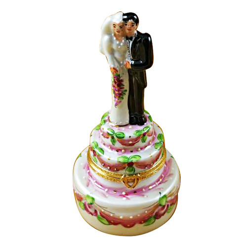 Limoges Imports Tall Bride & Groom On Cake Limoges Box