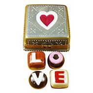 Limoges Imports Square Box W/Chocolates Limoges Box