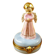 Limoges Imports Pink Angel On Blue Base Limoges Box