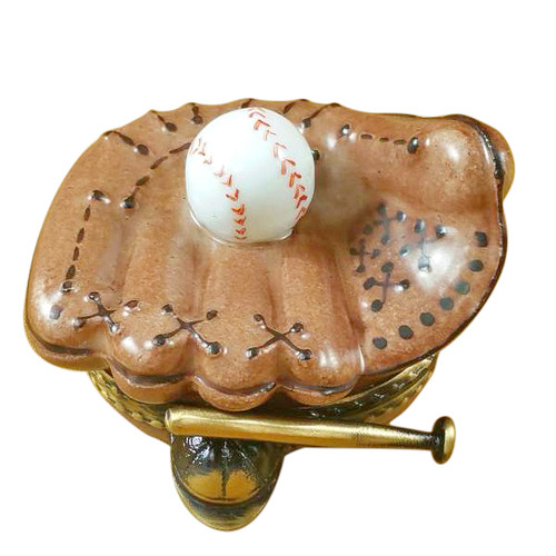 Limoges Imports Baseball Glove W/Ball Limoges Box
