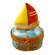 Limoges Imports Small Sail Boat Limoges Box