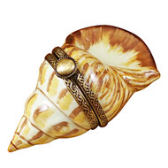 Limoges Imports Brown Sea Shell Limoges Box