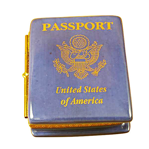 Limoges Imports Blue Us Passport Limoges Box