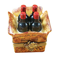 Limoges Imports Crate Of 4 Wine Bottles Limoges Box