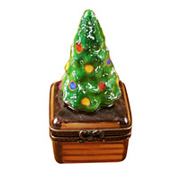 Limoges Imports Small Christmas Tree On Brown Base Limoges Box