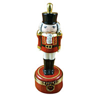 Limoges Imports Nutcracker W/ Plume On Red Base Limoges Box