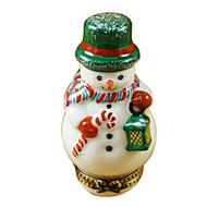 Limoges Imports Snowman W/Lantern Limoges Box