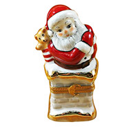 Limoges Imports Santa On Chimney Limoges Box