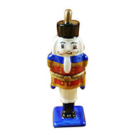Limoges Imports Nutcracker On Flat Blue Base Limoges Box