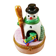 Limoges Imports Snowman W/ Train Limoges Box