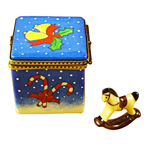 Limoges Imports Blue Christmas Cube W/Rocking Horse Limoges Box