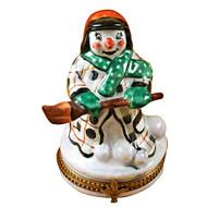 Limoges Imports Snowman W/Coat Limoges Box