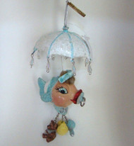 Katherine's Collection Baby Shower Dangling Kissing Fish Blue