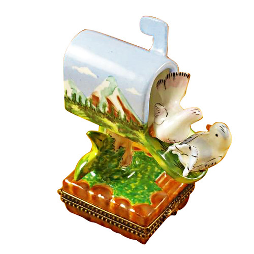 Limoges Imports Mailbox W/Doves Limoges Box