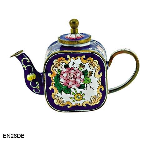 EN26DB Kelvin Chen Blue Floral Enamel Teapot