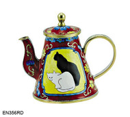 EN356RD Kelvin Chen Two Cats on Red Enamel Teapot