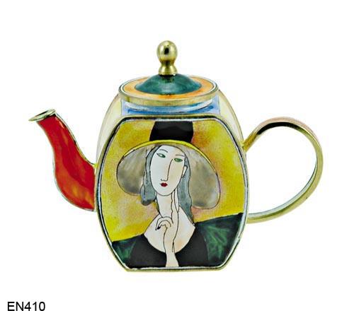 EN410 Kelvin Chen Amadeo Modigliani Lady in Hat Enamel Teapot