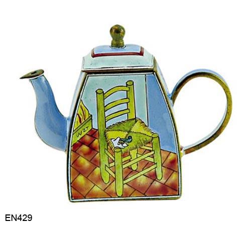 EN429 Kelvin Chen Vincent Van Gogh Chair and Pipe Enamel Teapot