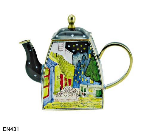 EN431 Kelvin Chen Vincent Van Gogh Café Terrace By Night Enamel Teapot