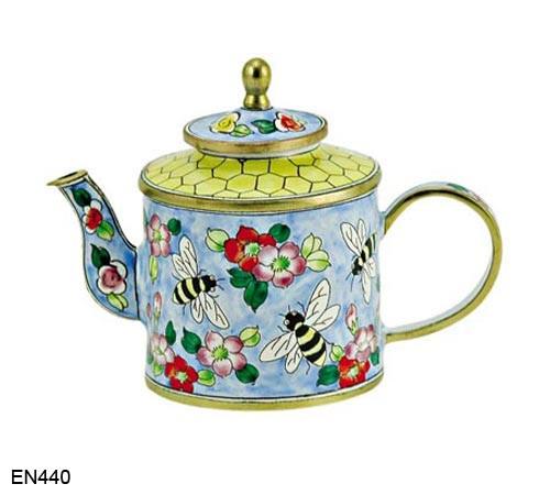 EN440 Kelvin Chen Flowers and Bees Enamel Teapot