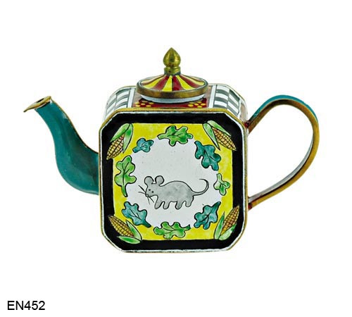 EN452 Kelvin Chen Mouse and Leaves Enamel Teapot