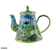 EN542 Kelvin Chen Monet Garden at St. Address Enamel Teapot