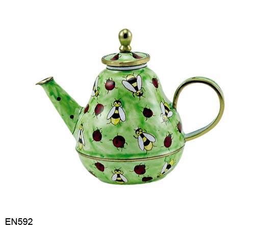 EN592 Kelvin Chen Bees and Ladybugs Enamel Teapot