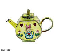 ENK1009 Kelvin Chen Loving Bunny Rabbit Enamel Hinged Teapot