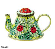 ENK402 Kelvin Chen Ladybugs Enamel Hinged Teapot