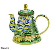 ENK425 Kelvin Chen Vincent Van Gogh Wheat Field The National Gallery, London Enamel Hinged Teapot