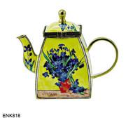 ENK818 Kelvin Chen Vincent Van Gogh Vase with Irises Enamel Hinged Teapot