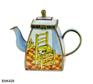 ENK429 Kelvin Chen Vincent Van Gogh Chair and Pipe Enamel Hinged Teapot