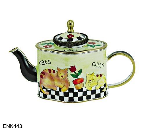 ENK443 Kelvin Chen Cats Enamel Hinged Teapot