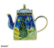 ENK837 Kelvin Chen Vincent Van Gogh Starry Night Enamel Hinged Teapot