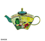 ENK538 Kelvin Chen Paul Cezanne Dish of Peaches Enamel Hinged Teapot