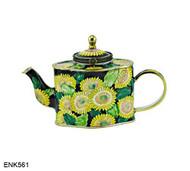 ENK561 Kelvin Chen Sunflowers Enamel Hinged Teapot