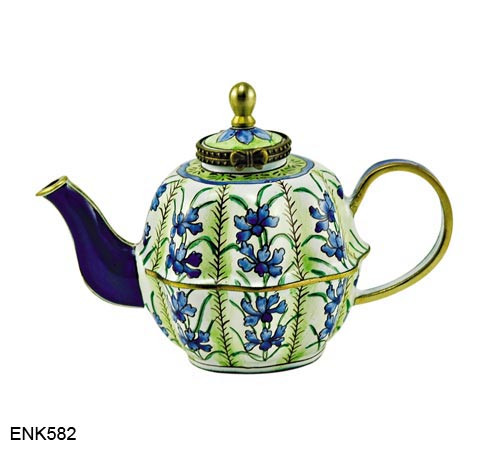 ENK582 Kelvin Chen Blue Floral Teapot Enamel Hinged Teapot