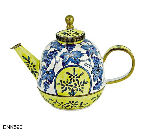 ENK590 Kelvin Chen Blue and Yellow Grapevine Enamel Hinged Teapot