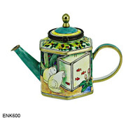 ENK600 Kelvin Chen Cats Watching Goldfish Enamel Hinged Teapot