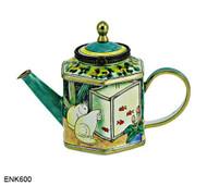 ENK600 Kelvin Chen Cats Watching Goldfish Enamel Hinged Teapot