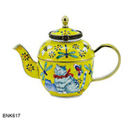 ENK617 Kelvin Chen Cat and Insects Enamel Hinged Teapot